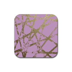 Modern,abstract,hand Painted, Gold Lines, Pink,decorative,contemporary,pattern,elegant,beautiful Rubber Coaster (square)  by 8fugoso