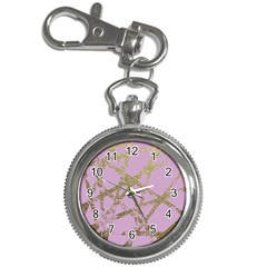 Modern,abstract,hand Painted, Gold Lines, Pink,decorative,contemporary,pattern,elegant,beautiful Key Chain Watches by 8fugoso