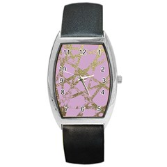 Modern,abstract,hand Painted, Gold Lines, Pink,decorative,contemporary,pattern,elegant,beautiful Barrel Style Metal Watch by 8fugoso