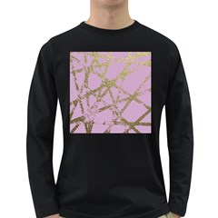 Modern,abstract,hand Painted, Gold Lines, Pink,decorative,contemporary,pattern,elegant,beautiful Long Sleeve Dark T Shirts by 8fugoso