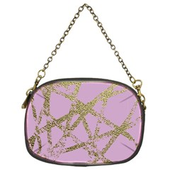 Modern,abstract,hand Painted, Gold Lines, Pink,decorative,contemporary,pattern,elegant,beautiful Chain Purses (two Sides)  by 8fugoso