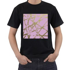 Modern,abstract,hand Painted, Gold Lines, Pink,decorative,contemporary,pattern,elegant,beautiful Men s T Shirt (black) by 8fugoso