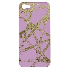 Modern,abstract,hand Painted, Gold Lines, Pink,decorative,contemporary,pattern,elegant,beautiful Apple Iphone 5 Hardshell Case by 8fugoso