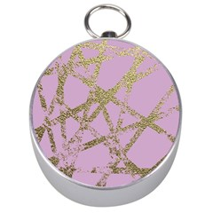 Modern,abstract,hand Painted, Gold Lines, Pink,decorative,contemporary,pattern,elegant,beautiful Silver Compasses by 8fugoso