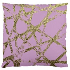 Modern,abstract,hand Painted, Gold Lines, Pink,decorative,contemporary,pattern,elegant,beautiful Standard Flano Cushion Case (two Sides) by 8fugoso