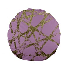 Modern,abstract,hand Painted, Gold Lines, Pink,decorative,contemporary,pattern,elegant,beautiful Standard 15  Premium Flano Round Cushions by 8fugoso