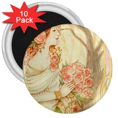 Beautiful Art Nouveau Lady 3  Magnets (10 Pack)  by 8fugoso