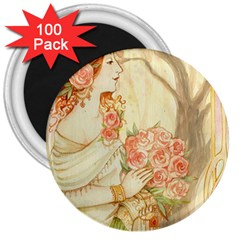 Beautiful Art Nouveau Lady 3  Magnets (100 Pack) by 8fugoso