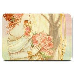 Beautiful Art Nouveau Lady Large Doormat  by 8fugoso