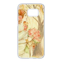 Beautiful Art Nouveau Lady Samsung Galaxy S7 Edge White Seamless Case by 8fugoso