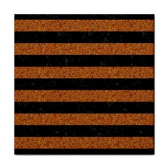 Stripes2 Black Marble & Rusted Metal Tile Coasters by trendistuff