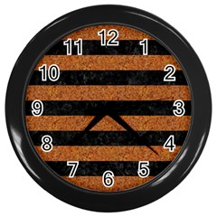 Stripes2 Black Marble & Rusted Metal Wall Clocks (black) by trendistuff