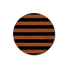 Stripes2 Black Marble & Rusted Metal Rubber Coaster (round)  by trendistuff