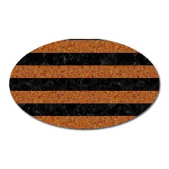 Stripes2 Black Marble & Rusted Metal Oval Magnet by trendistuff