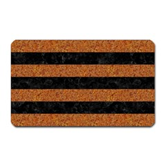 Stripes2 Black Marble & Rusted Metal Magnet (rectangular)