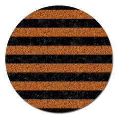 Stripes2 Black Marble & Rusted Metal Magnet 5  (round) by trendistuff