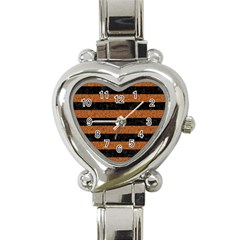 Stripes2 Black Marble & Rusted Metal Heart Italian Charm Watch by trendistuff