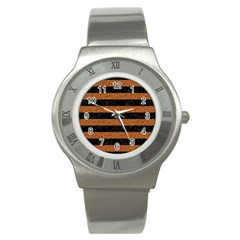 Stripes2 Black Marble & Rusted Metal Stainless Steel Watch by trendistuff