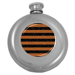 Stripes2 Black Marble & Rusted Metal Round Hip Flask (5 Oz) by trendistuff