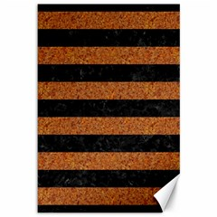 Stripes2 Black Marble & Rusted Metal Canvas 12  X 18   by trendistuff