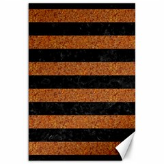 Stripes2 Black Marble & Rusted Metal Canvas 20  X 30   by trendistuff