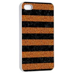 Stripes2 Black Marble & Rusted Metal Apple Iphone 4/4s Seamless Case (white) by trendistuff