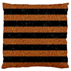 Stripes2 Black Marble & Rusted Metal Large Cushion Case (one Side) by trendistuff