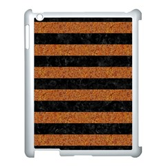 Stripes2 Black Marble & Rusted Metal Apple Ipad 3/4 Case (white) by trendistuff