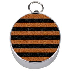 Stripes2 Black Marble & Rusted Metal Silver Compasses by trendistuff