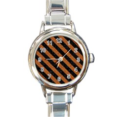 Stripes3 Black Marble & Rusted Metal Round Italian Charm Watch by trendistuff