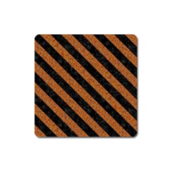 Stripes3 Black Marble & Rusted Metal Square Magnet by trendistuff
