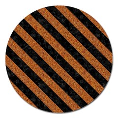 Stripes3 Black Marble & Rusted Metal Magnet 5  (round) by trendistuff