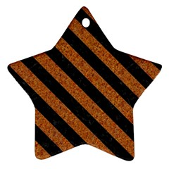 Stripes3 Black Marble & Rusted Metal Star Ornament (two Sides) by trendistuff