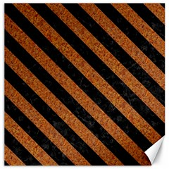 Stripes3 Black Marble & Rusted Metal Canvas 16  X 16   by trendistuff