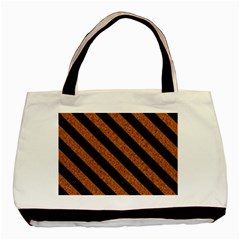 Stripes3 Black Marble & Rusted Metal Basic Tote Bag (two Sides) by trendistuff
