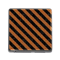Stripes3 Black Marble & Rusted Metal Memory Card Reader (square) by trendistuff