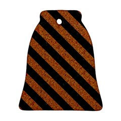 Stripes3 Black Marble & Rusted Metal Bell Ornament (two Sides) by trendistuff
