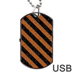 Stripes3 Black Marble & Rusted Metal Dog Tag Usb Flash (one Side) by trendistuff