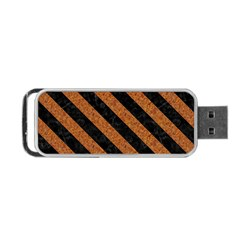 Stripes3 Black Marble & Rusted Metal Portable Usb Flash (two Sides) by trendistuff