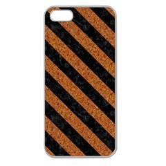 Stripes3 Black Marble & Rusted Metal Apple Seamless Iphone 5 Case (clear) by trendistuff