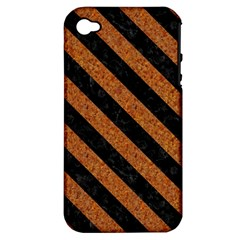 Stripes3 Black Marble & Rusted Metal Apple Iphone 4/4s Hardshell Case (pc+silicone) by trendistuff