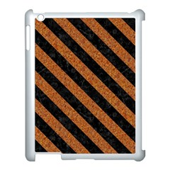Stripes3 Black Marble & Rusted Metal Apple Ipad 3/4 Case (white) by trendistuff