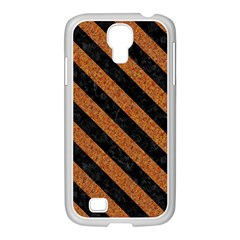 Stripes3 Black Marble & Rusted Metal Samsung Galaxy S4 I9500/ I9505 Case (white) by trendistuff