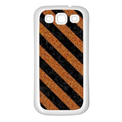 Stripes3 Black Marble & Rusted Metal Samsung Galaxy S3 Back Case (white) by trendistuff