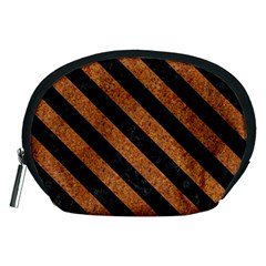 Stripes3 Black Marble & Rusted Metal Accessory Pouches (medium)  by trendistuff