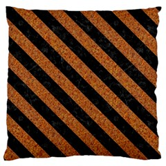 Stripes3 Black Marble & Rusted Metal Large Flano Cushion Case (two Sides) by trendistuff