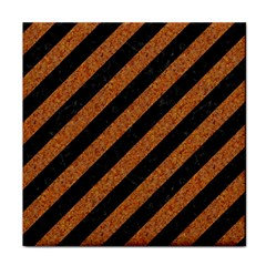 Stripes3 Black Marble & Rusted Metal (r) Tile Coasters by trendistuff