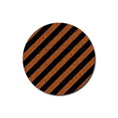 Stripes3 Black Marble & Rusted Metal (r) Rubber Round Coaster (4 Pack)  by trendistuff