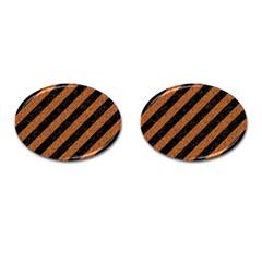 Stripes3 Black Marble & Rusted Metal (r) Cufflinks (oval) by trendistuff