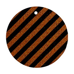 Stripes3 Black Marble & Rusted Metal (r) Round Ornament (two Sides) by trendistuff